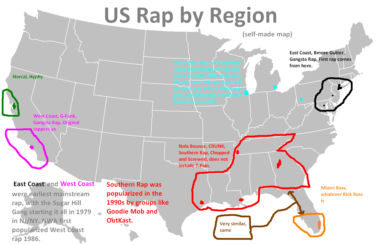 US Cultural Regions Rap And Hip Hop In The US Lees Lectern - Rap of the map of the us